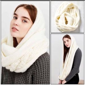 UO Kimchi Blue Cable Hooded Eternity Scarf Cream B